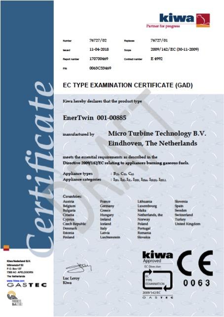 Ce Certification For Enertwin Mtt Micro Turbine